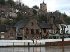 Flood defences have been installed in Ironbridge, Shropshire (Nick Potts/PA)