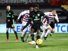 Celtic's Odsonne Edouard scores his side's first goal against Hamilton (Jane Barlow/PA)