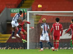 West Brom's Semi Ajayi scores the equaliser at Anfield (Stu Forster/PA)