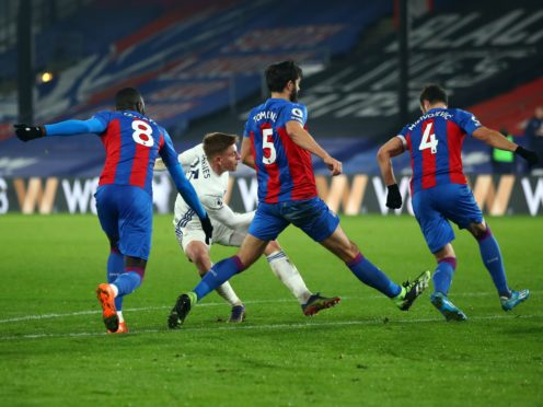 Harvey Barnes scored his eighth goal of the season for Leicester in their 1-1 draw at Crystal Palace (Marc Atkins/PA)