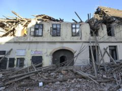 A building damaged in an earthquake in Petrinja, Croatia (AP)