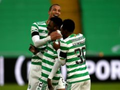 Ismaila Soro (centre) scores first Celtic goal (Andrew Milligan/PA)