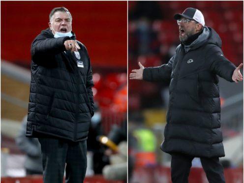 Sam Allardyce, left, and West Brom took a point off Jurgen Klopp's Liverpool (Clive Brunskill/Nick Potts/PA)
