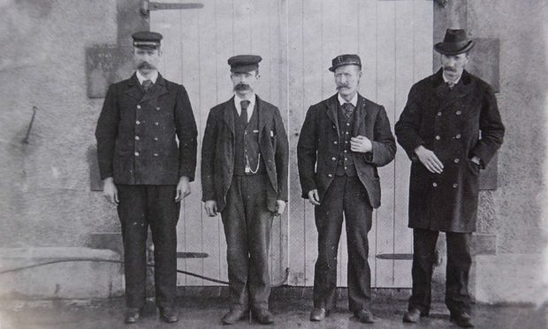 The Flannan Isles Lighthouse mystery. Three lighthouse keepers went missing from the Flannan Isles Lighthouse in 1900. Author John Love thinks he has solved the mystery of their disappearence. ops the Flannan Isles Lighthouse keepers - L-R THOMAS MARSHALL, JAMES DUCAT AND DONALD MACARTHUR WITH NLB SUPERINTENDENT ROBERT MUIRHEAD .