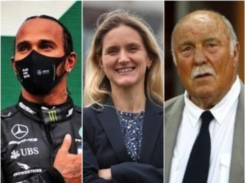 Lewis Hamilton, Kim Leadbeater and Jimmy Greaves (PA)