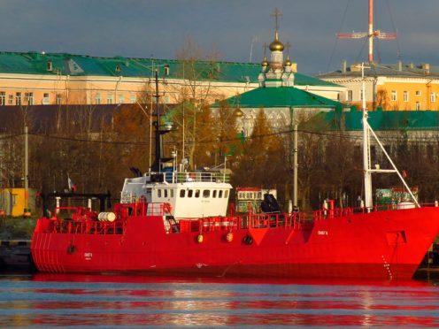 Fishing trawler Onega is moored in Arkhangelsk, Russia (Alexander Kokorin via AP)