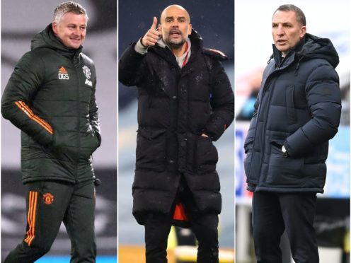 Ole Gunnar Solskjaer, Pep Guardiola and Brendan Rodgers will be hoping their respective sides can carry league form into the FA Cup (Clive Rose/Martin Rickett/Michael Regan/PA)