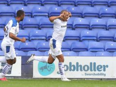 James Vaughan doubled Tranmere's lead (Martin Rickett/PA)