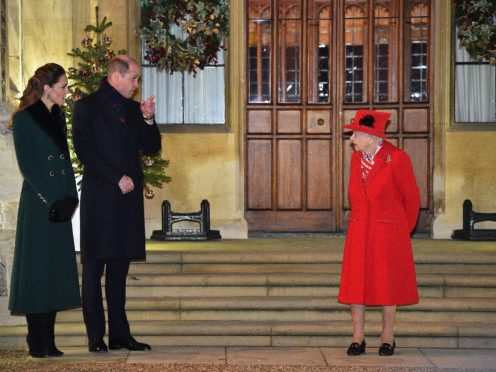 The Queen talks with the Duke and Duchess of Cambridge in the quadrangle at Windsor Castle (Glyn Kirk/PA)