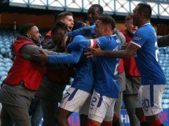 Rangers celebrate their winning goal (Andrew Milligan/PA)