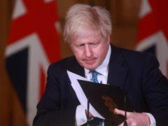 Prime Minister Boris Johnson during a media briefing on coronavirus in Downing Street (Hannah McKay/PA)