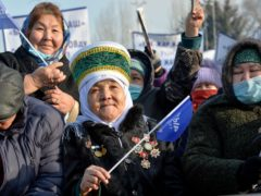 Supporters listen to Sadyr Zhaparov during a meeting in Bishkek (AP)