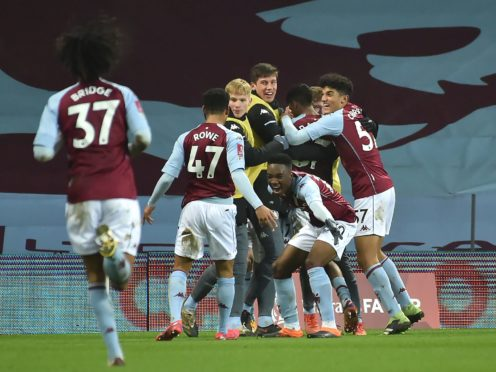 Aston Villa celebrate Louie Barry's equalising goal against Liverpool (Rui Vieira/PA)