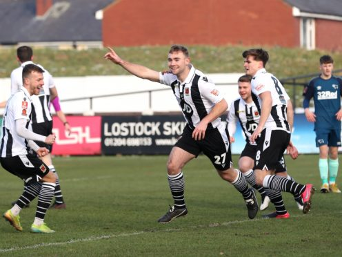 Connor Hall, centre, was on target as Chorley reached the FA Cup fourth round (Martin Rickett/PA)