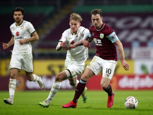Ashley Barnes, right, endured a frustrating afternoon against MK Dons (Tim Goode/PA)