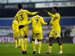 Fulham's Neeskens Kebano celebrates his side's second goal at QPR (Tess Derry/PA)