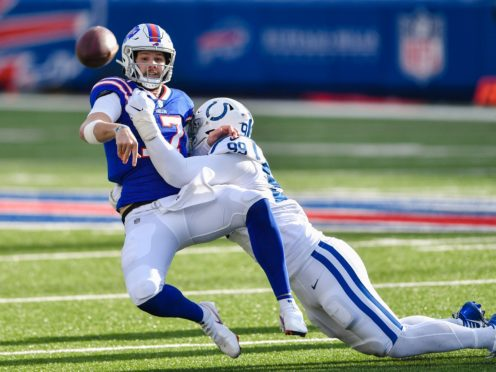 Buffalo Bills quarterback Josh Allen threw two touchdowns and rushed for another as his side beat the Indianapolis Colts (Adrian Kraus/AP)