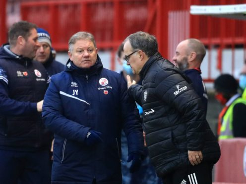 Crawley boss John Yems got the better of his Leeds counterpart Marcelo Bielsa (Adam Davy/PA)
