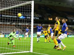 Michael Keane scorers Everton's winner at Wolves (Richard Heathcote/PA)