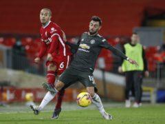 Thiago Alcantara and Bruno Fernandes had chances at Anfield (Phil Noble/PA)