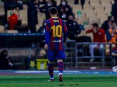 Lionel Messi was sent off for Barcelona (Miguel Morenatti/AP)