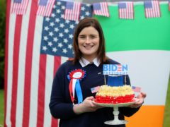 Fifth cousin of President-elect Joe Biden, Councillor Andrea McKevitt at her home on the Cooley Peninsula in Co. Louth with a specially baked cake to mark Mr Biden's inauguration (Brian Lawless/PA)