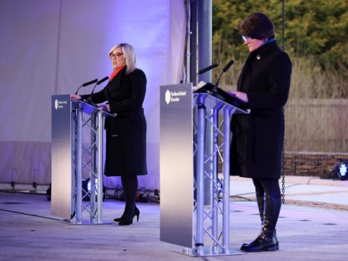 First Minister Arlene Foster, right,and Deputy First Minister Michelle O'Neill during a media briefing in County Tyrone (Kelvin Boyes/Press Eye/PA)