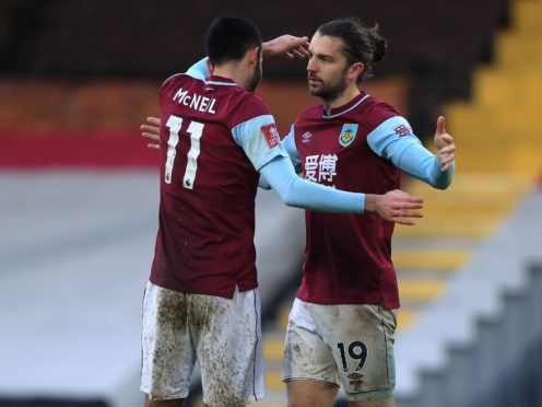 Jay Rodriguez, right, scored twice as Burnley beat Fulham 3-0 (Mike Egerton/PA)