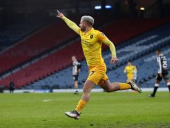 Livingston's Scott Robinson celebrates his Hampden winner (Jane Barlow/PA)