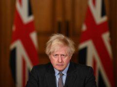 Prime Minister Boris Johnson during a media briefing in Downing Street, London, on coronavirus (Justin Tallis/PA)