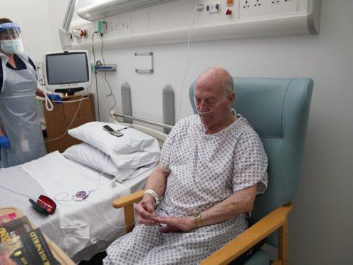 Edward Willsher, 84, from Westerhope in Newcastle, with nurse Pauline McNicolas (Owen Humphreys/PA)