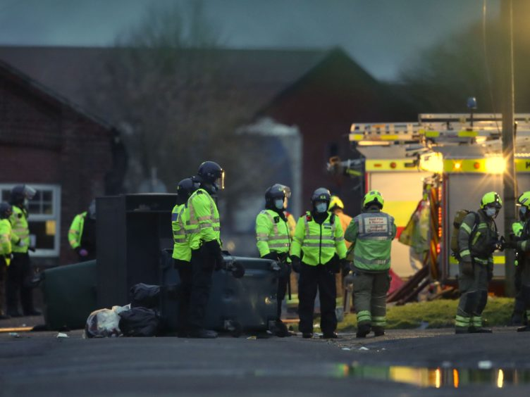 Emergency services at the incident at Napier Barracks (Gareth Fuller/PA)