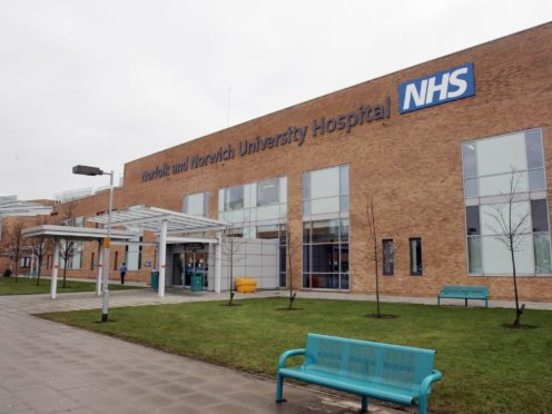 Norfolk and Norwich University Hospital has three times as many Covid-19 patients as at the height of the first wave (Jeremy Durkin/PA)