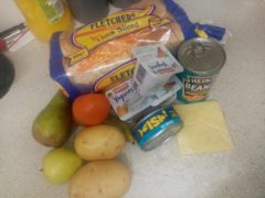 A food hamper received by a parent in Redcar (Kerry Wilks)