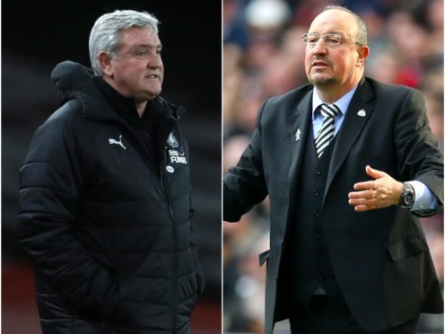 Newcastle head coach Steve Bruce (left) is aiming to match the achievements of predecessor Rafael Benitez (Adam Davy/Steven Paston/PA)