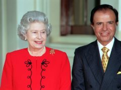 The Queen welcomes then Argentinian President Carlos Menem to Buckingham Palace (PA)