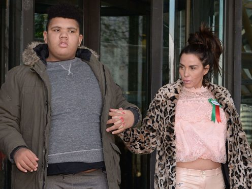 Katie Price with her son Harvey Price (Nick Ansell/PA)