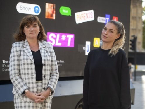 Baroness Nicky Morgan joins Love Island star Zara McDermott to support a campaign by domestic violence charity Refuge to make threatening to share intimate images a crime (Victoria Jones/PA)