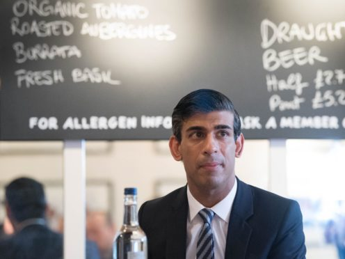 Chancellor of the Exchequer Rishi Sunak hosting a roundtable for business representatives at Franco Manca in Waterloo, London (Stefan Rousseau/PA)