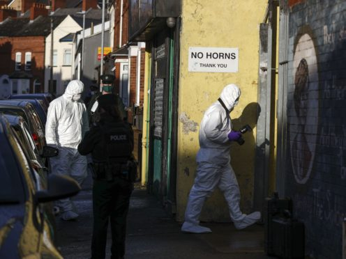 Emergency services attend the scene in Hawthorn Street, Belfast, after security alerts in Londonderry and Belfast (Liam McBurney/PA)