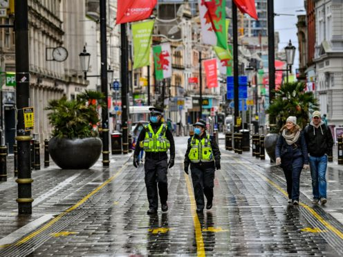 Police patrolling Cardiff city centre (Ben Birchall/PA)