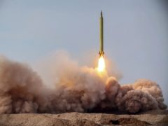 A missile is launched in a drill in Iran (Iranian Revolutionary Guard/Sepahnews/AP)