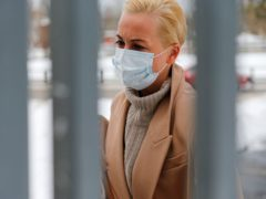 Wife of Russian opposition leader Alexei Navalny, Yulia arrives to attend a hearing at a court in Moscow (Alexander Zemlianichenko/AP)
