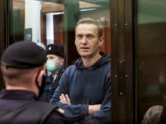 Russian opposition leader Alexei Navalny stands in a cage during his hearing at Moscow City Court on Tuesday (Moscow City Court via AP)