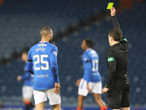Kemar Roofe was booked for his challenge on Murray Davidson