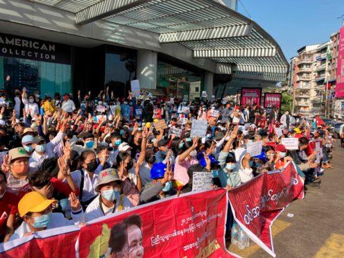 Demonstrators in Yangon (AP)
