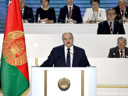 President Alexander Lukashenko appears before the All-Belarus People's Assembly in Minsk on Thursday (Sergei Sheleg/BelTA Pool Photo via AP)