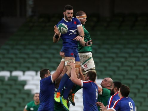 Charles Ollivon, left, scored France's opening try in Dublin (Brian Lawless/PA)