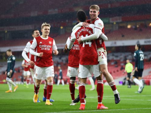 Pierre-Emerick Aubameyang's first Premier League hat-trick helped Arsenal to victory (Julian Finney/PA)