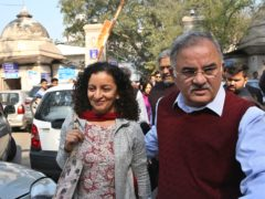 Indian journalist Priya Ramani, left, was the first to accuse MJ Akbar of harassment (AP)